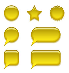 yellow glass buttons set vector image vector image