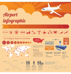 Airport air travel infographic with design vector image vector image