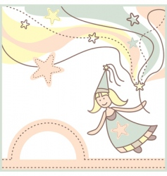 baby card with lovely fairy vector image