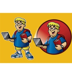 cartoon of genius boy bring the laptop and books vector image vector image
