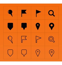 GPS and Navigation icons on orange background vector image