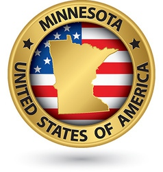 Minnesota state gold label with state map vector