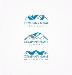 real estate logohome bundle logoroof logo vector image