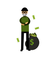 robber character standing with folded arms and big vector image
