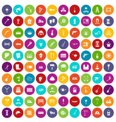 100 tools icons set color vector