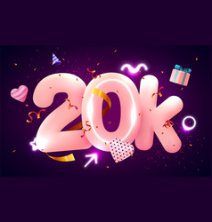 20k or 20000 followers thank you pink heart vector