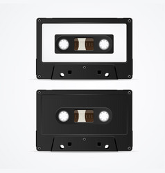 audio cassette tape mockup template blank vector image