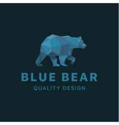 Bear low poly Blue polygons with trend style vector image
