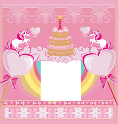 Birthday card with a cute unicorn vector