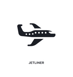 Black jetliner isolated icon simple element from vector
