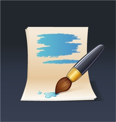 blank note paper with brush vector image