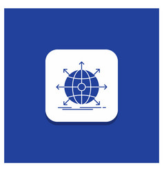 blue round button for business global vector image