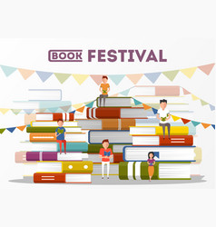 Book festival poster with small people characters vector
