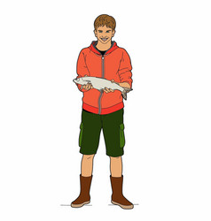 boy with a fish vector image