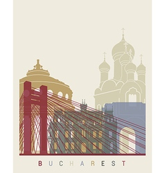 Bucharest skyline poster vector