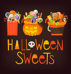Buckets wih halloween sweets vector