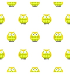 Cartoon green owls white seamless pattern vector image