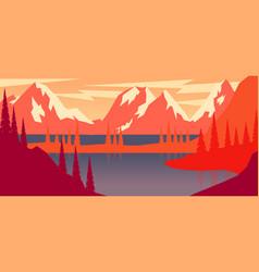 cartoon mountain landscape in flat style design vector image