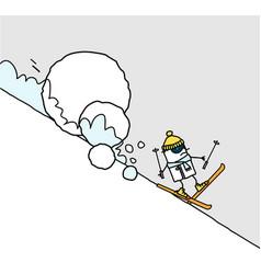 Cartoon skier and avalanche vector