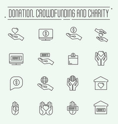 Charity and donation modern line design vector