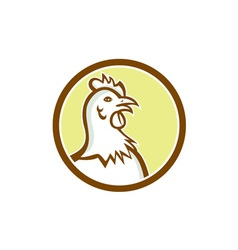 Chicken Hen Head Side Circle Cartoon vector