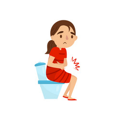 child with stomach pains little girl sitting on vector image