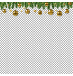 Christmas fur tree border with ball transparent vector