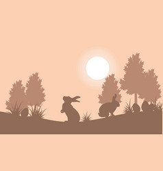 Collection of bunny and egg landscape vector