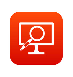 computer monitor magnifying glass icon digital red vector image