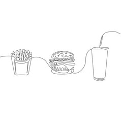 continuous one line drawing fastfood french fries vector image