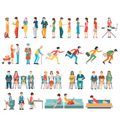 Crowd of people characters cartoon vector