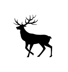Deer animal with horns isolated icon silhouette vector