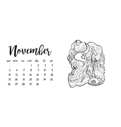 Desk calendar template for month November vector image