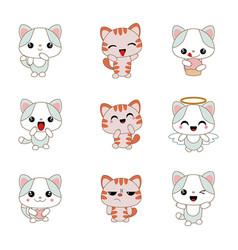 different cartoon cats set different cartoon cats vector image