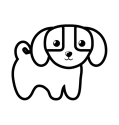 dog little canine adorable outline vector image