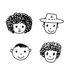 doodle people icon vector image