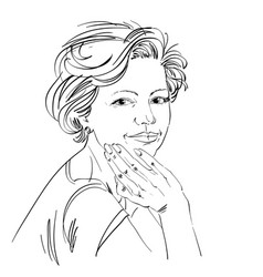 Drawing of confident elegant woman with stylish vector