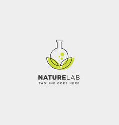 Eco lab nature leaf simple line logo template vector