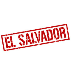 El salvador red square stamp vector