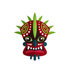 Ethnic tribal mask with ornaments big eyes and vector