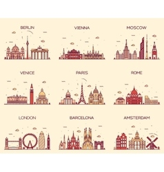 Europe skylines Paris London Barcelona line art vector image