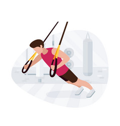 Fit man working out on trx doing bodyweight vector