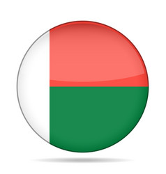 Flag of madagascar shiny round button vector