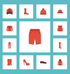 Flat icons waistcoat apparel elegant headgear vector