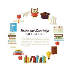 Flat style circle template of books education and vector