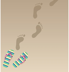 Flip flops and foot prints vector