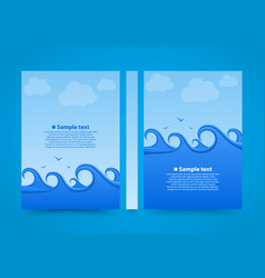Flyer sea wave banner book summer beach a4 size vector