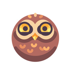 funny cute brown owl face flat icon vector image