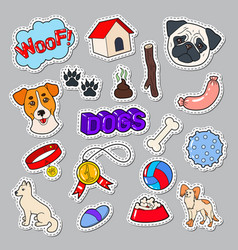 Funny dogs doodle with puppy and toys vector