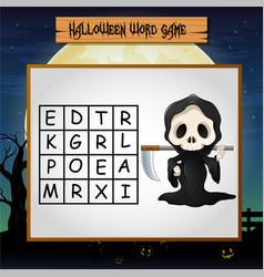 Game halloween find the word of grim reaper vector